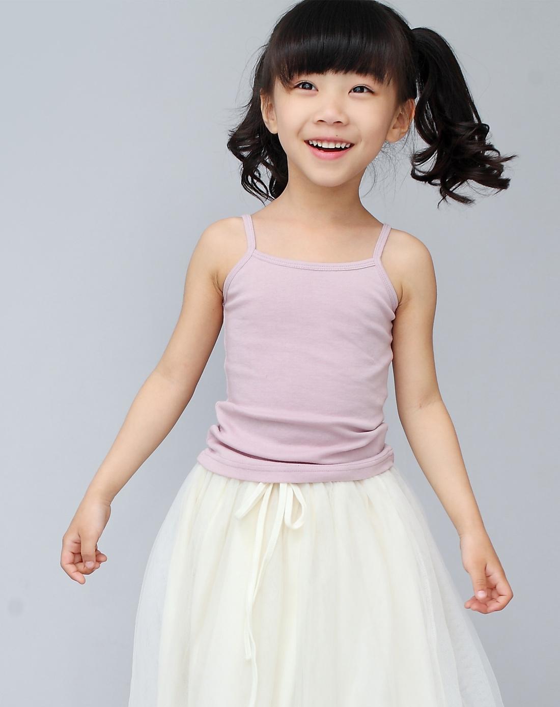 伊尚贝丽esbeeli女童专场女童淡紫色可爱吊带背心e120
