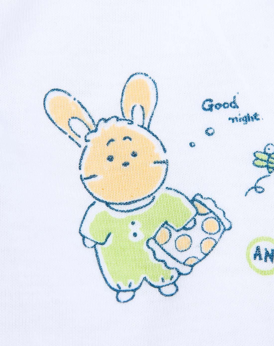 安吉小羊 婴儿白底绿兔单面布两用长裤