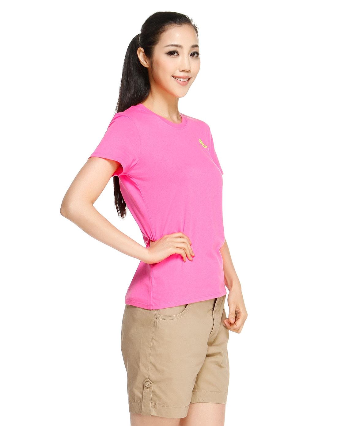 场女款绿配粉红色短袖t恤