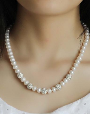 8-9mm水晶球之恋aaa白色珍珠项链