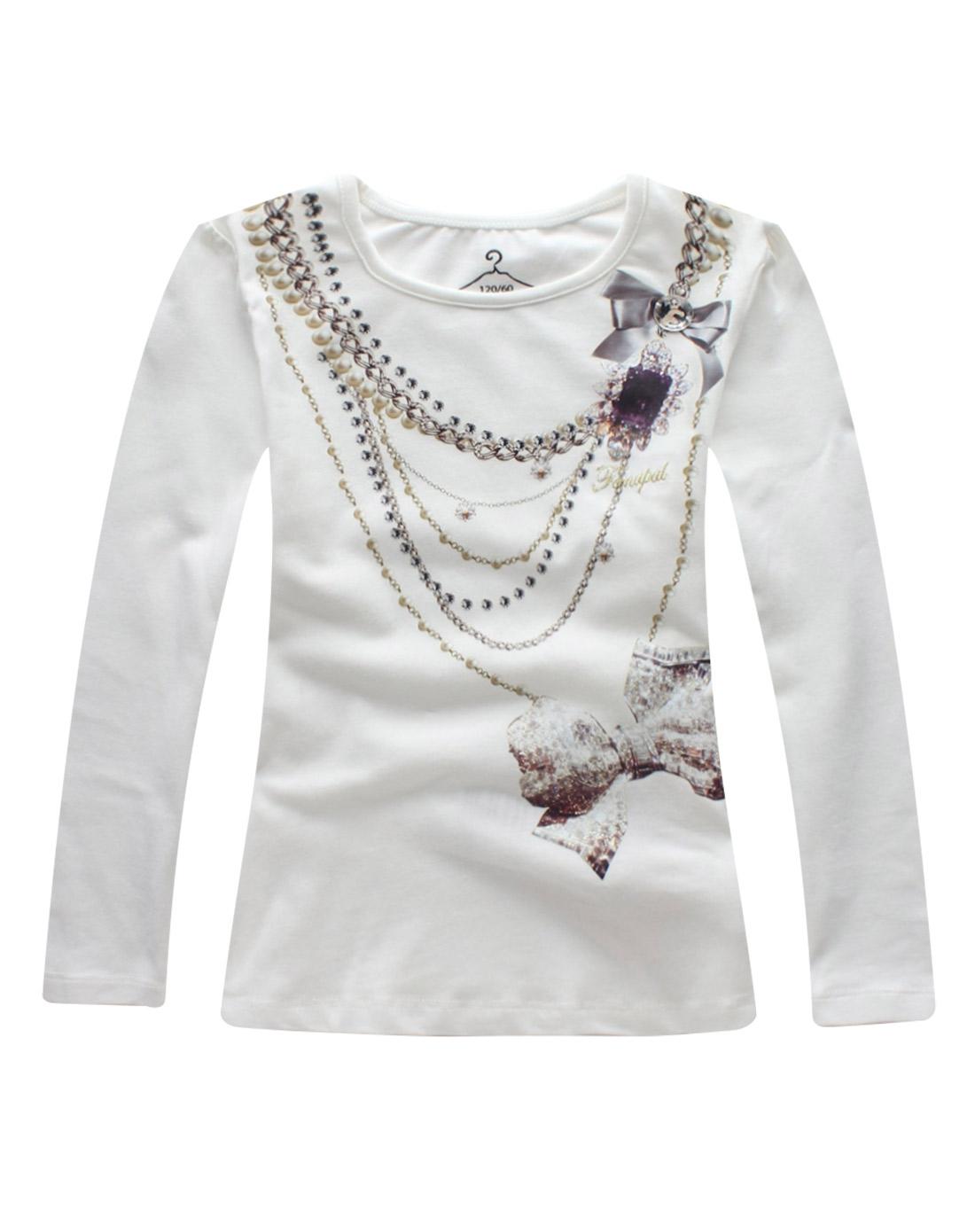 女童本白项链t恤