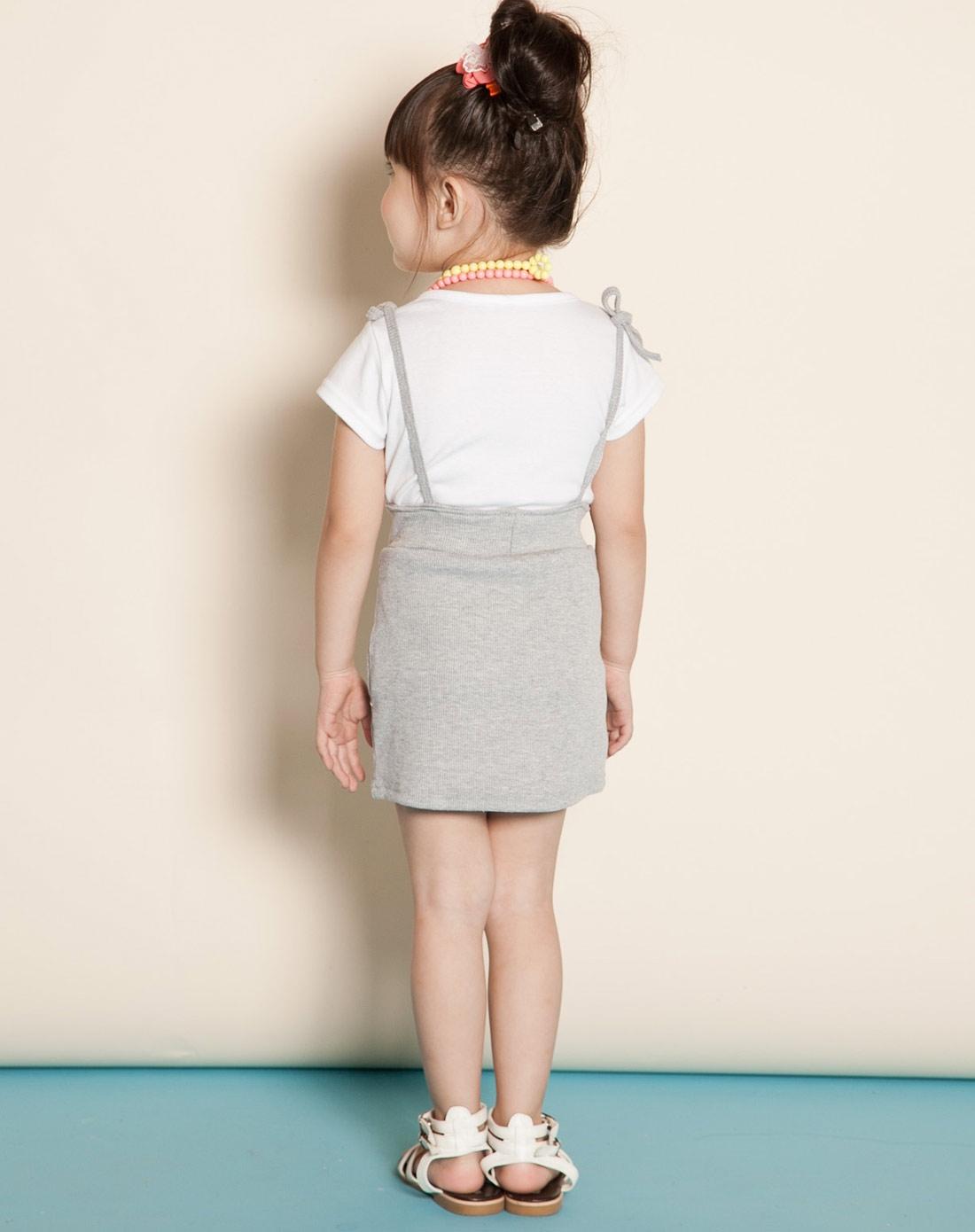 欧梦达 女童浅灰色海派甜心可爱背带裙