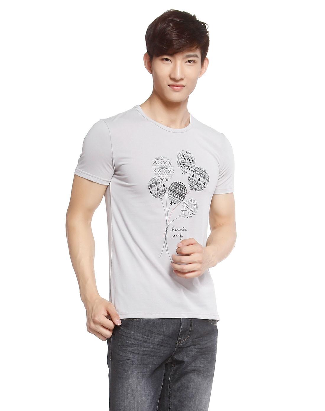 气球印图灰色短袖t恤