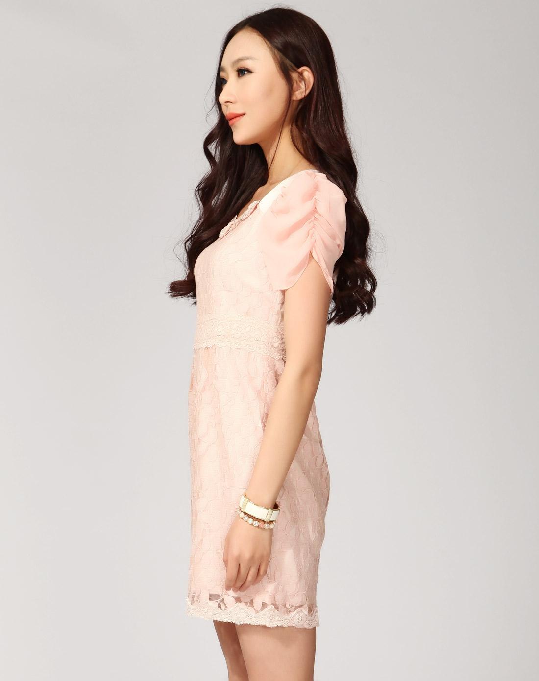 女装粉色高端大气修身连衣裙