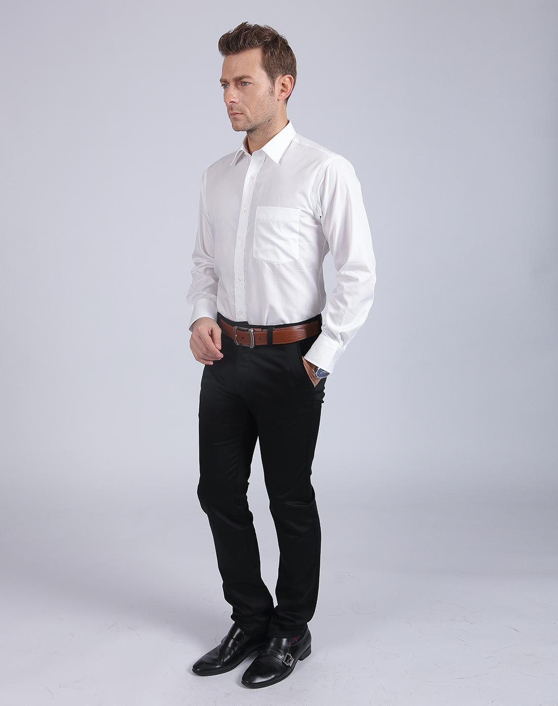 白色高端商务男装长袖衬衫