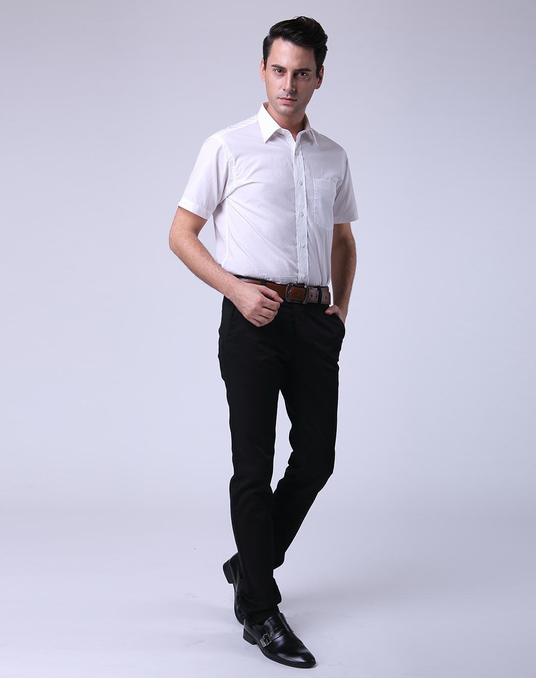白色高端商务男装短袖衬衫