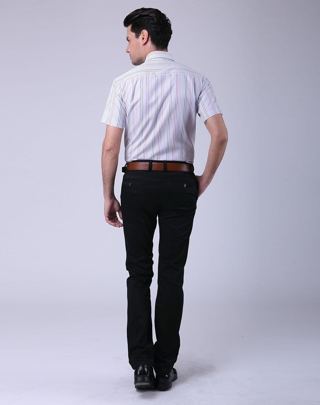 红蓝白竖条纹商务男装短袖衬衫