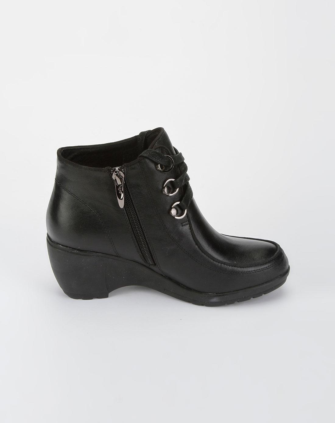 哈森harson女款黑色摔纹系带皮鞋图片