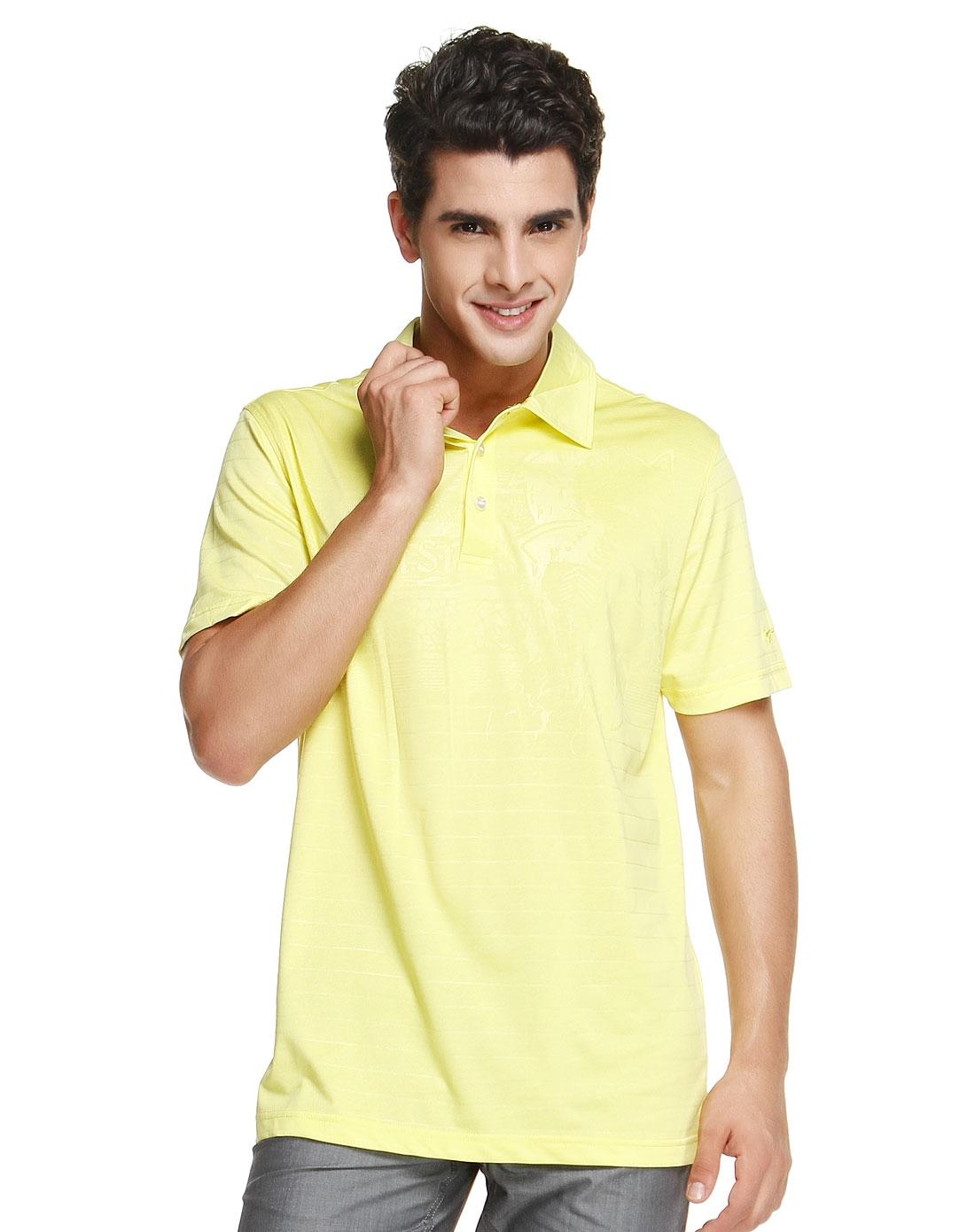 净色简约明黄色短袖polo衫