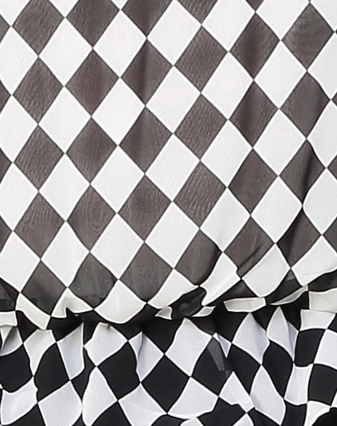 可爱印图黑白色格子短袖连衣裙