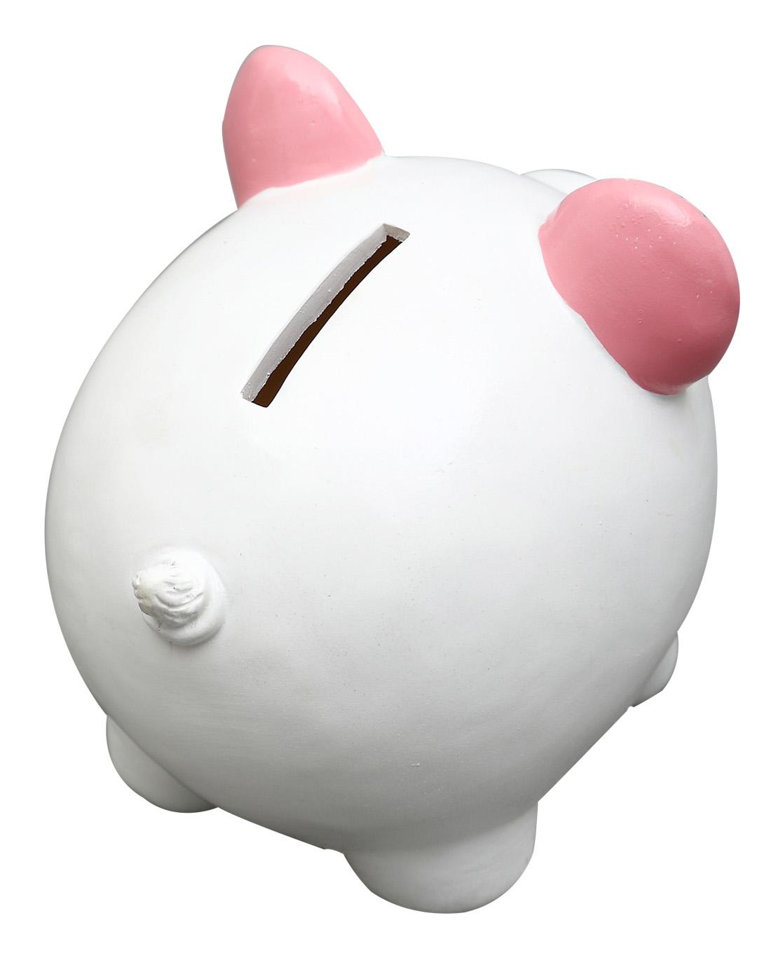 > 环保树脂手绘存钱罐-粉猪