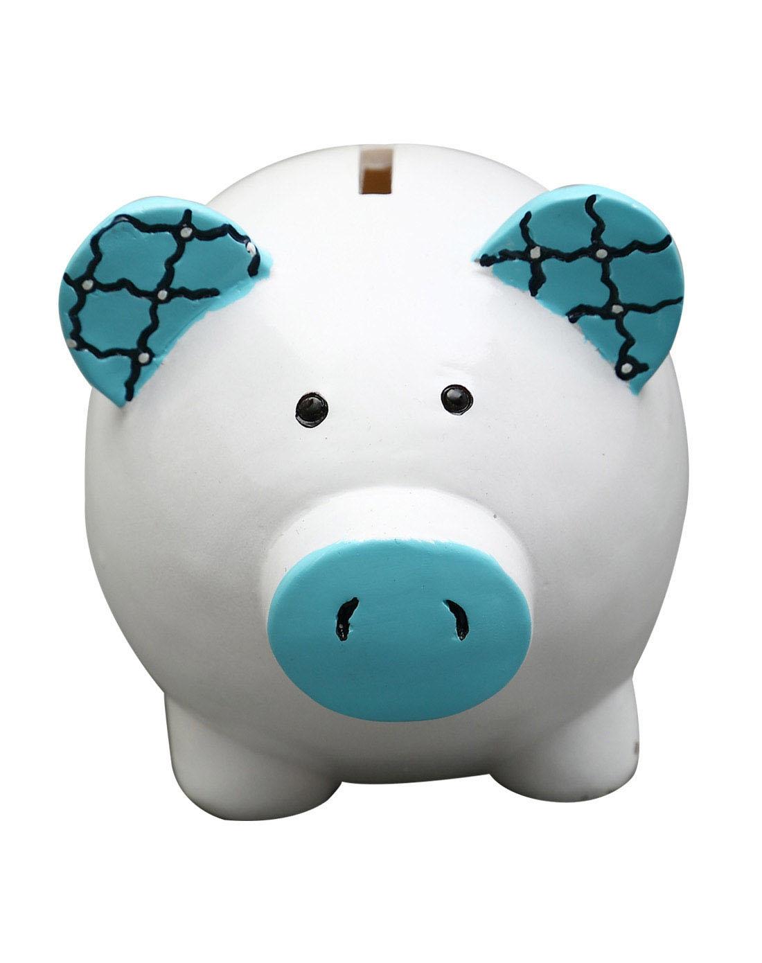 > 环保树脂手绘存钱罐-蓝猪