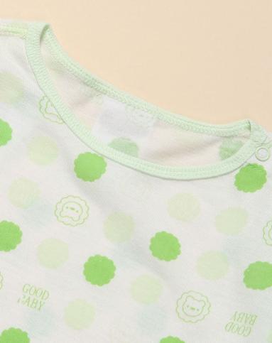 男童简约时尚白底绿色印花长袖上衣