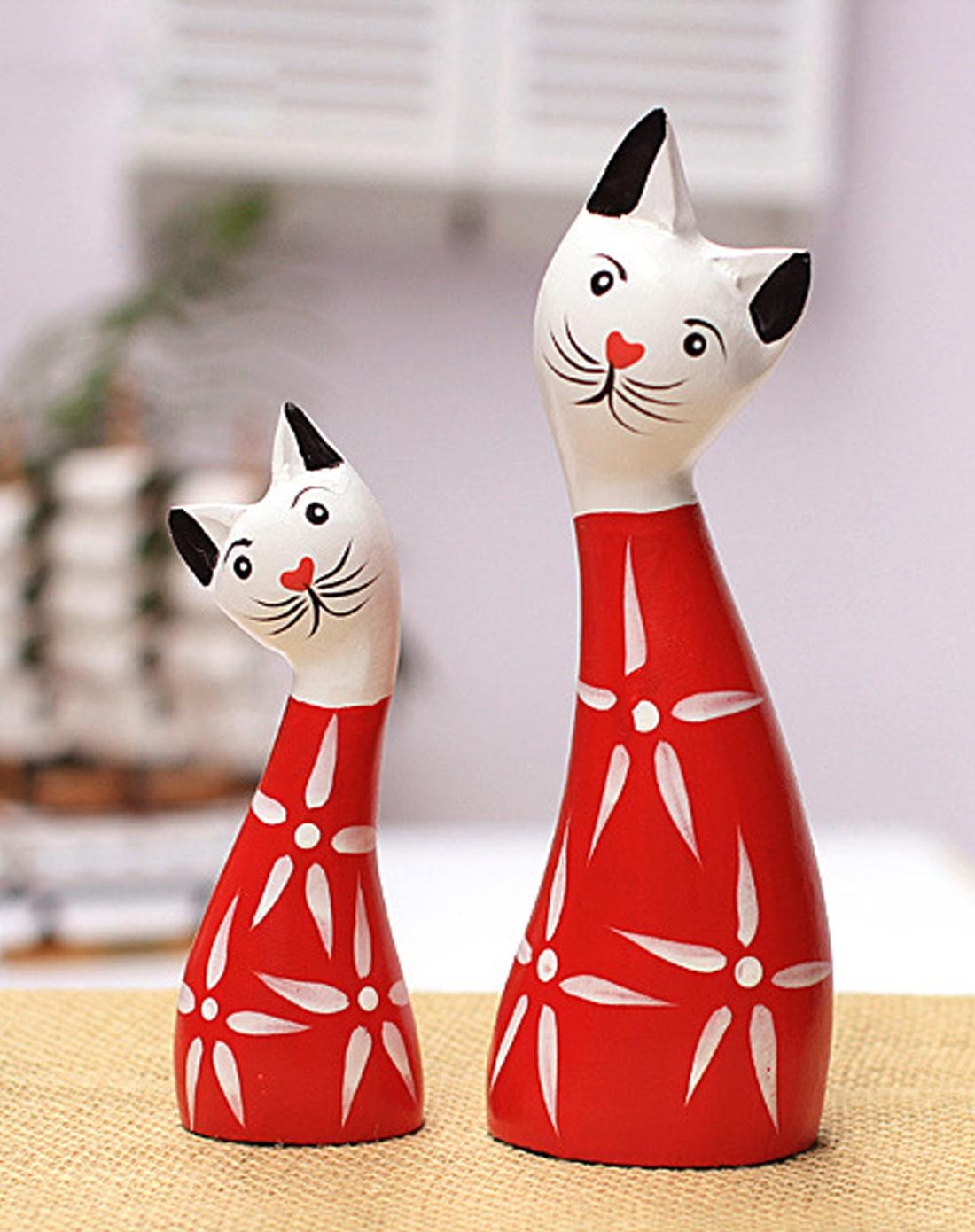 吉祥猫北欧原木手绘装饰品