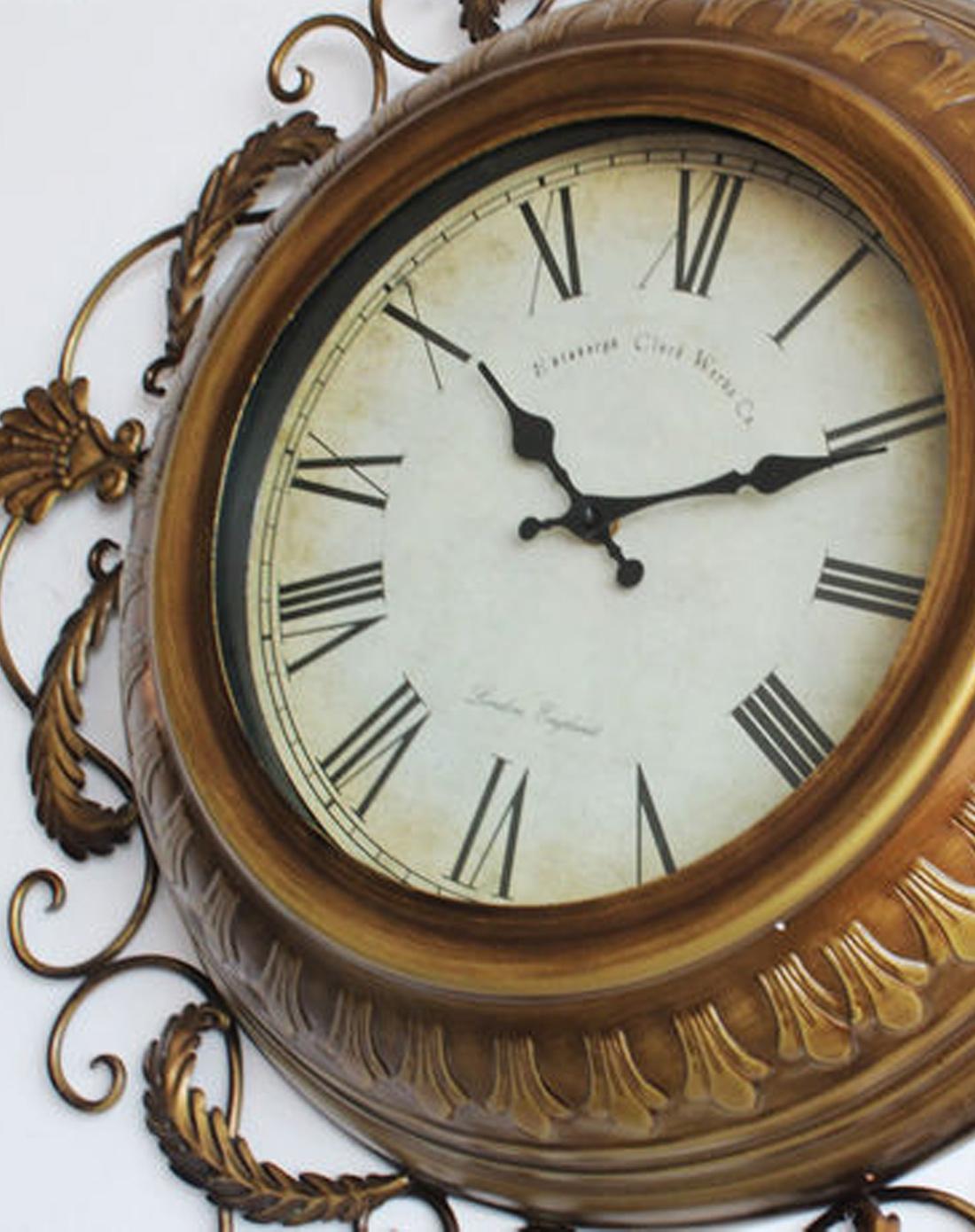 欧式仿古铜造型花边铁艺钟