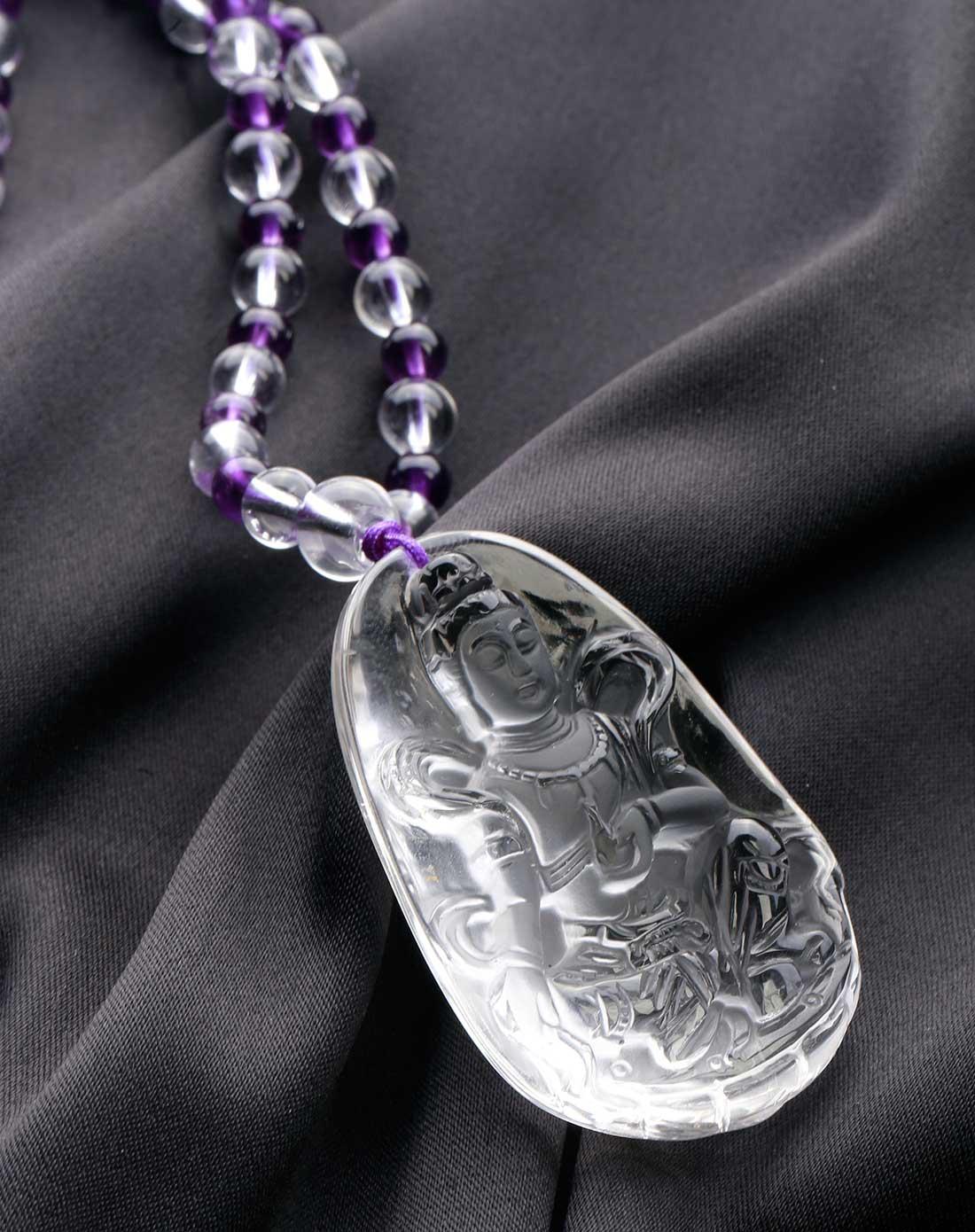 晶石灵chenim饰品专场-白水晶观音项链