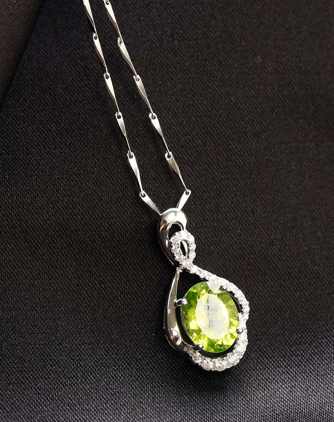 晶石灵chenim饰品专场-925银橄榄石吊坠