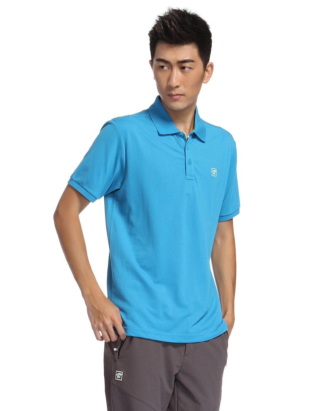 简约活力海水蓝色短袖翻领速干t恤