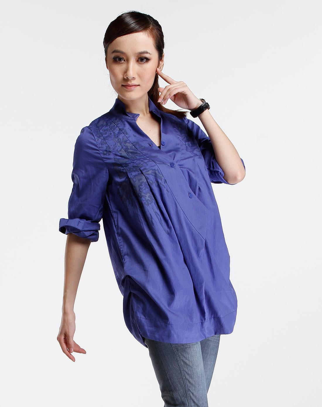 紫蓝色企领时尚长袖衬衣