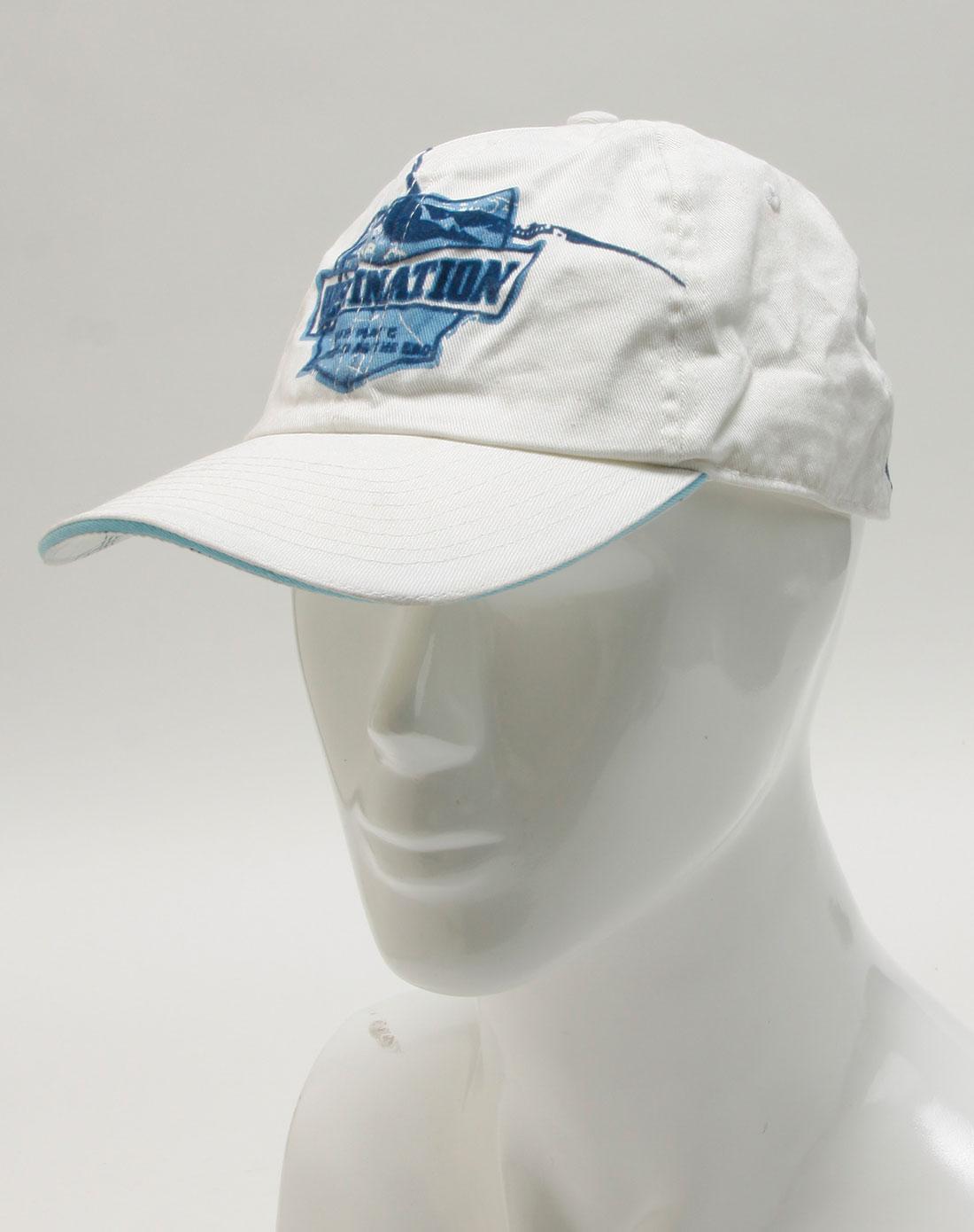 白色蓝刺绣休闲帽子