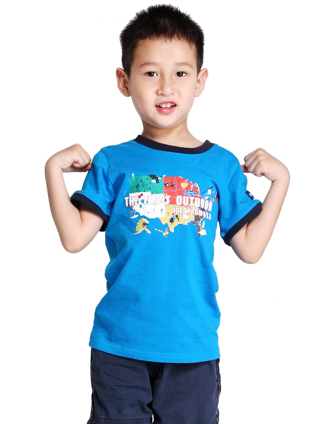 美国第一户外男女装中性天蓝色儿童户外纯棉功能t恤衫