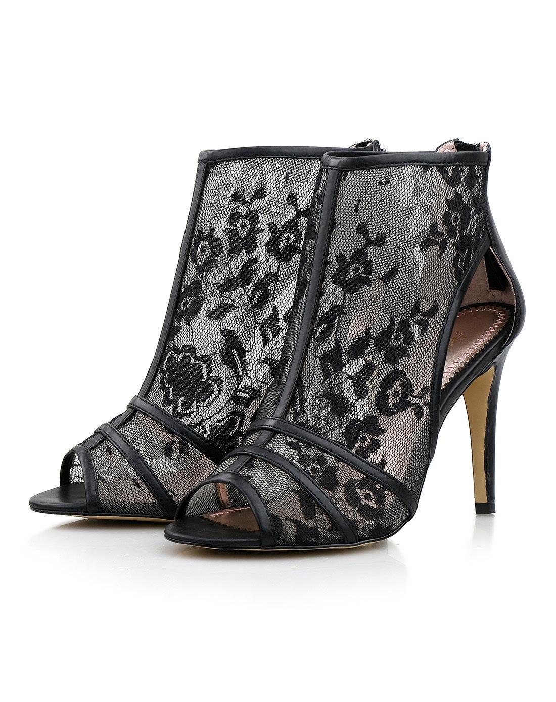 黑色网布花纹凉鞋81127030221
