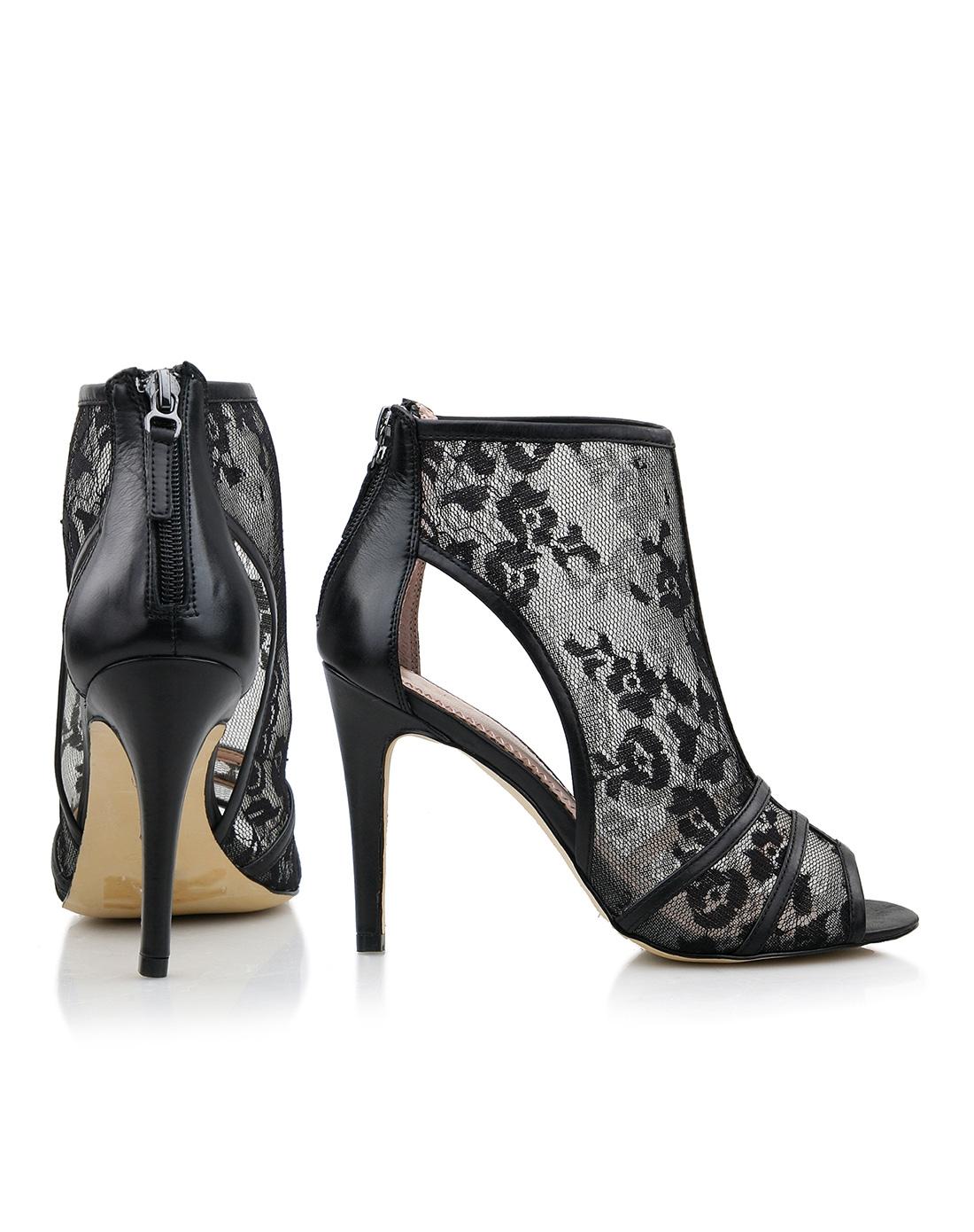 jcc 黑色网布花纹凉鞋