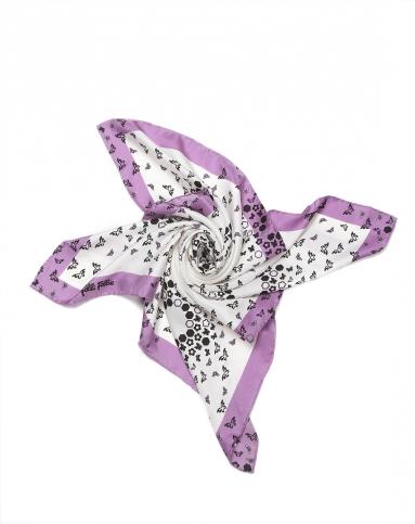 蝴蝶印花优雅白底紫黑拼色方巾