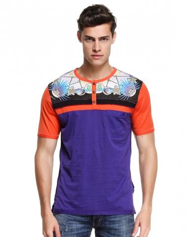 男款艺术图案橙紫色短袖t恤