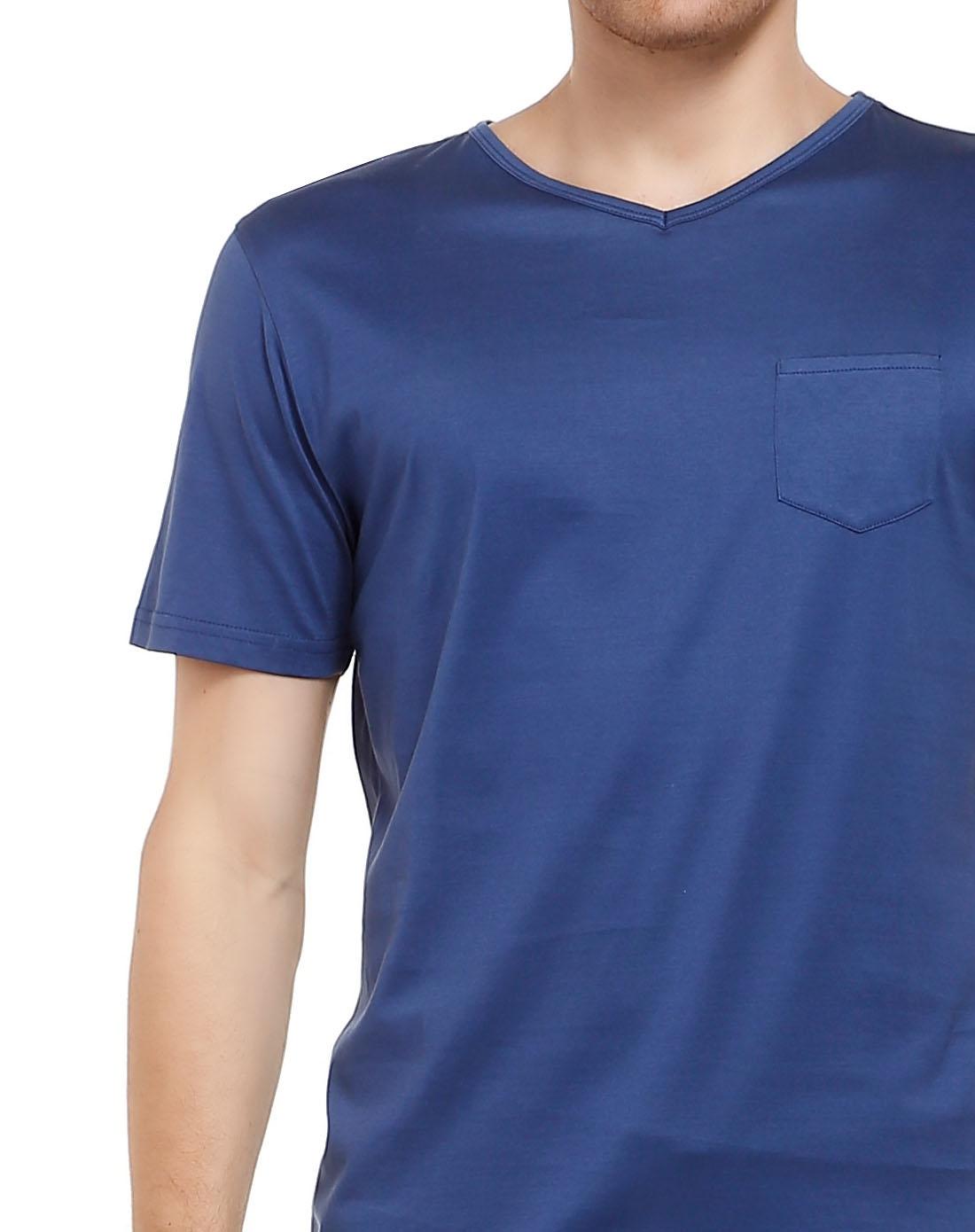 baldassari 夏日简约纯深蓝色短袖t恤