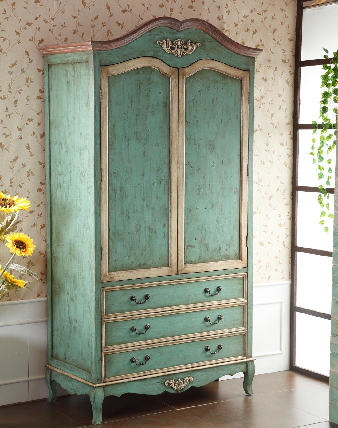 欧式古典雕花大衣柜双开门卧室柜