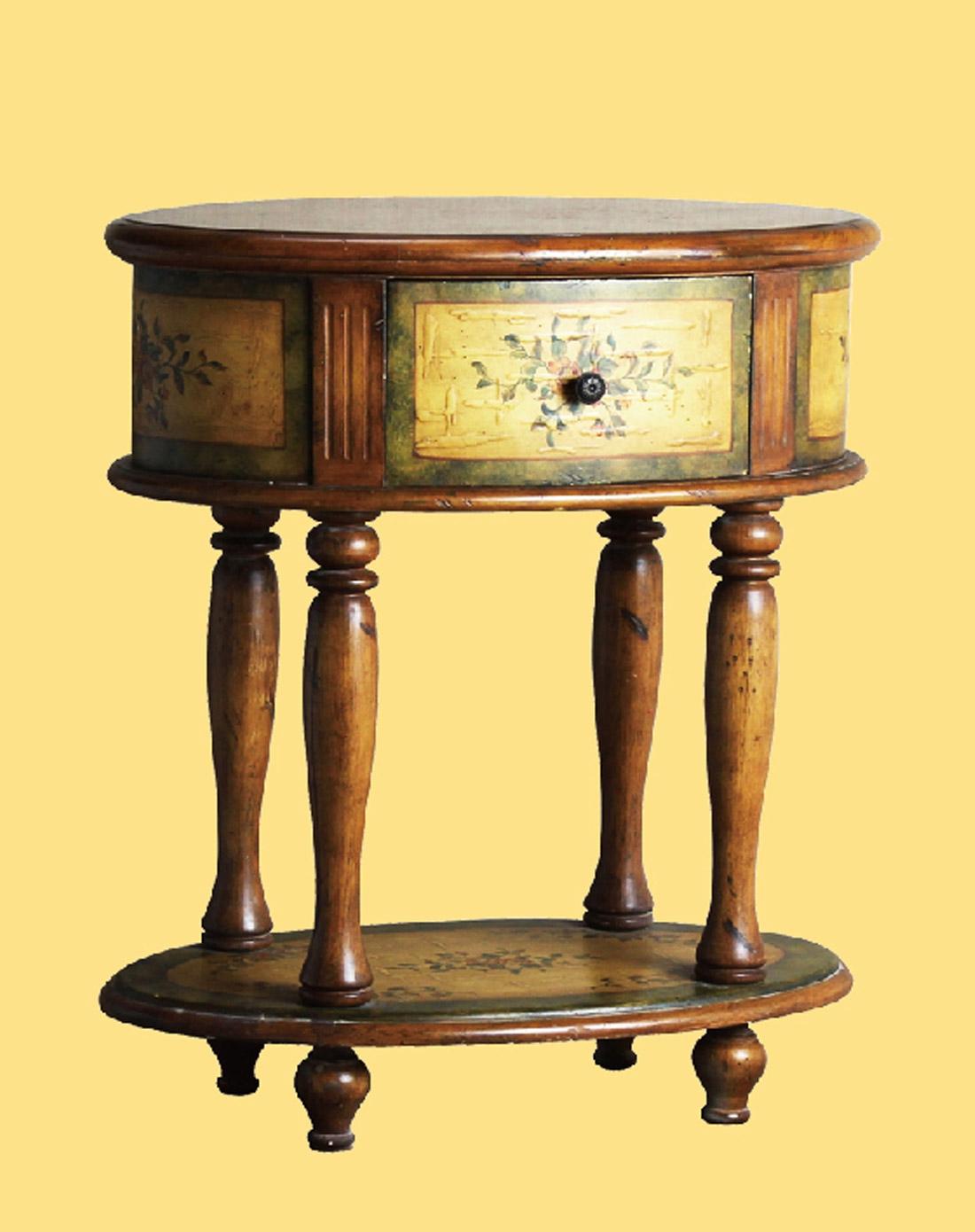 欧式手绘圆桌床头柜