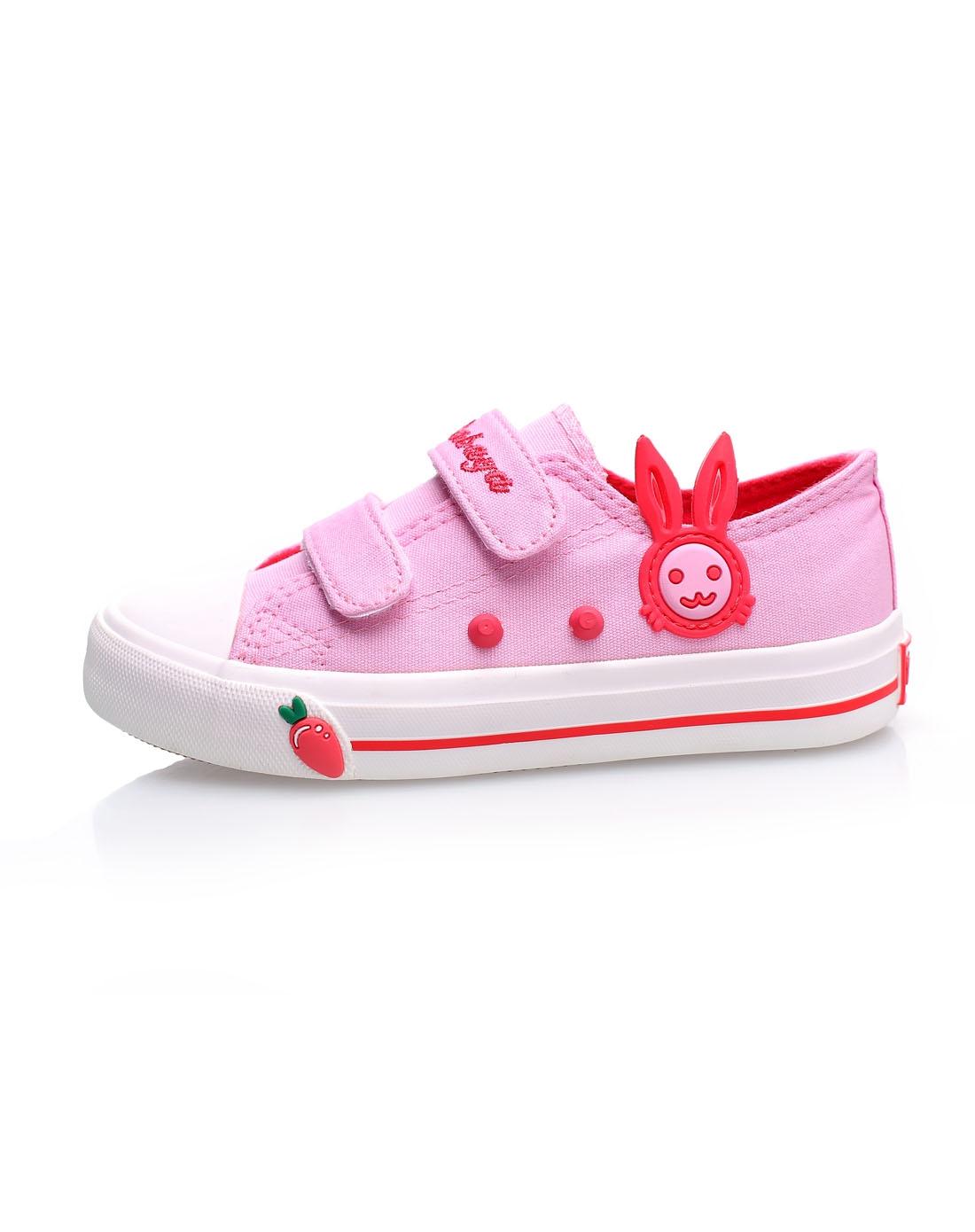 女童粉红色可爱小兔子魔术贴帆布鞋