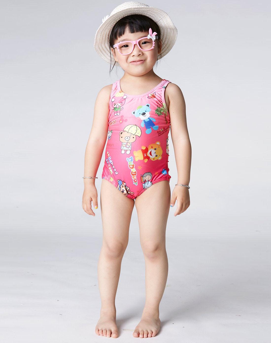 女童款粉红色连体三角泳衣 可爱卡通配搭