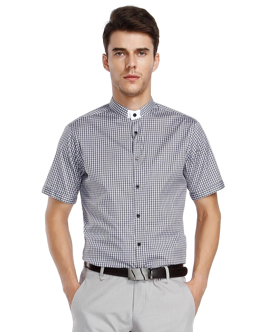 百搭灰白格子短袖衬衫