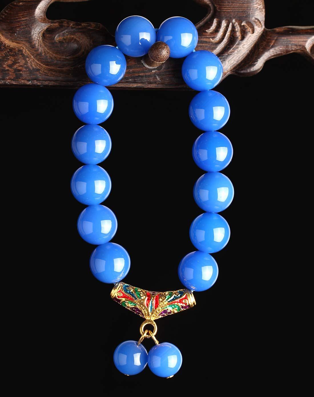3a级天然蓝玛瑙圆珠鎏金镶嵌手链附证书