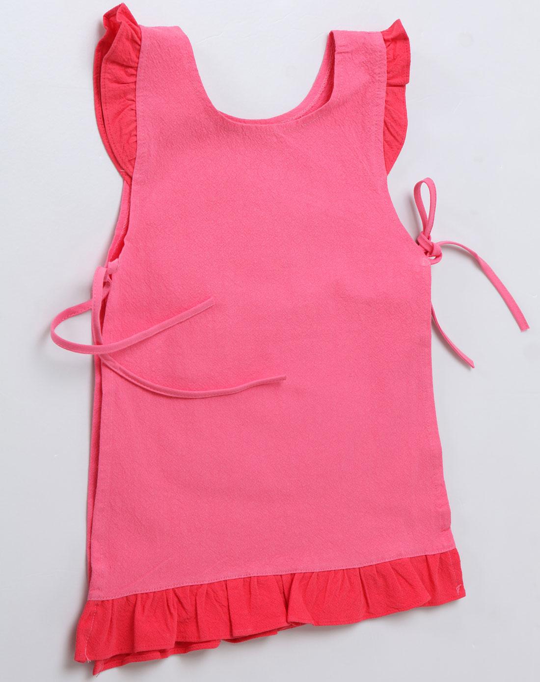 河马蝴蝶玫红色儿童围裙