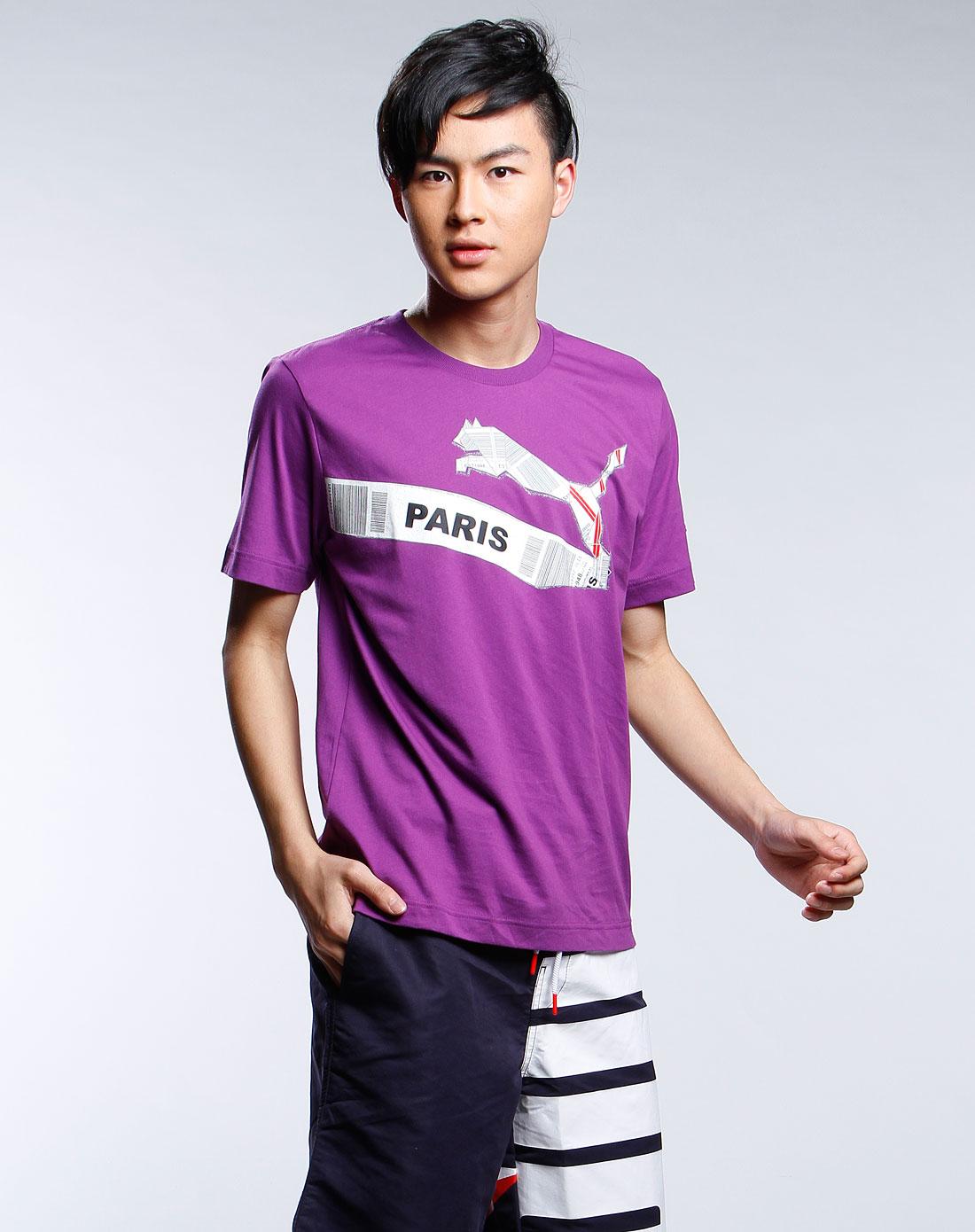 紫色图案时尚短袖t恤