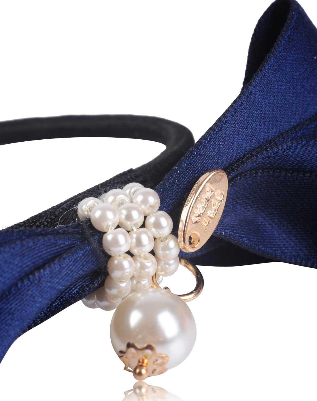 麦朵mado藏青色布带蝴蝶结绕珍珠发圈m099025