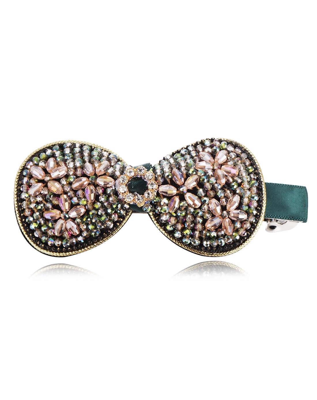 绿色水晶串珠蝴蝶结发夹