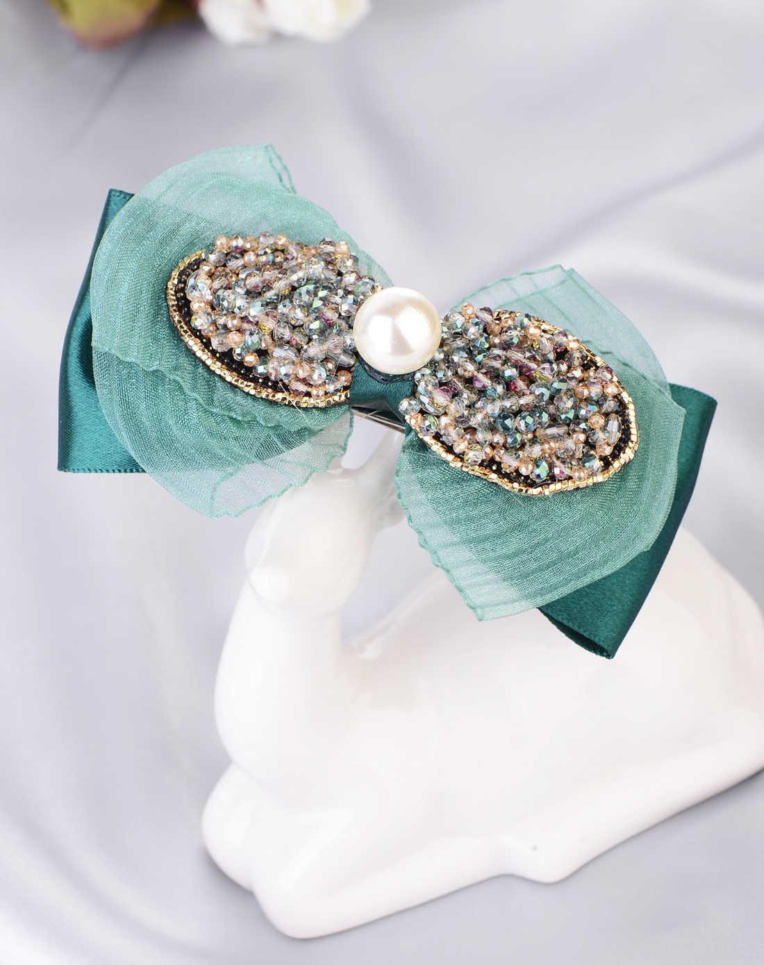 水晶串珠绿色布艺蝴蝶结发夹