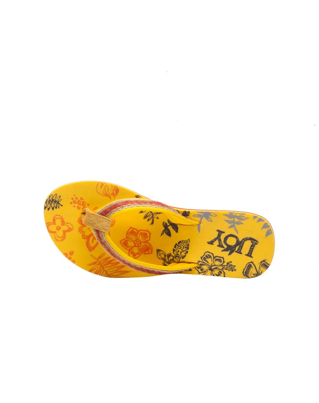 女装黄色自然手绘沙滩休闲拖鞋