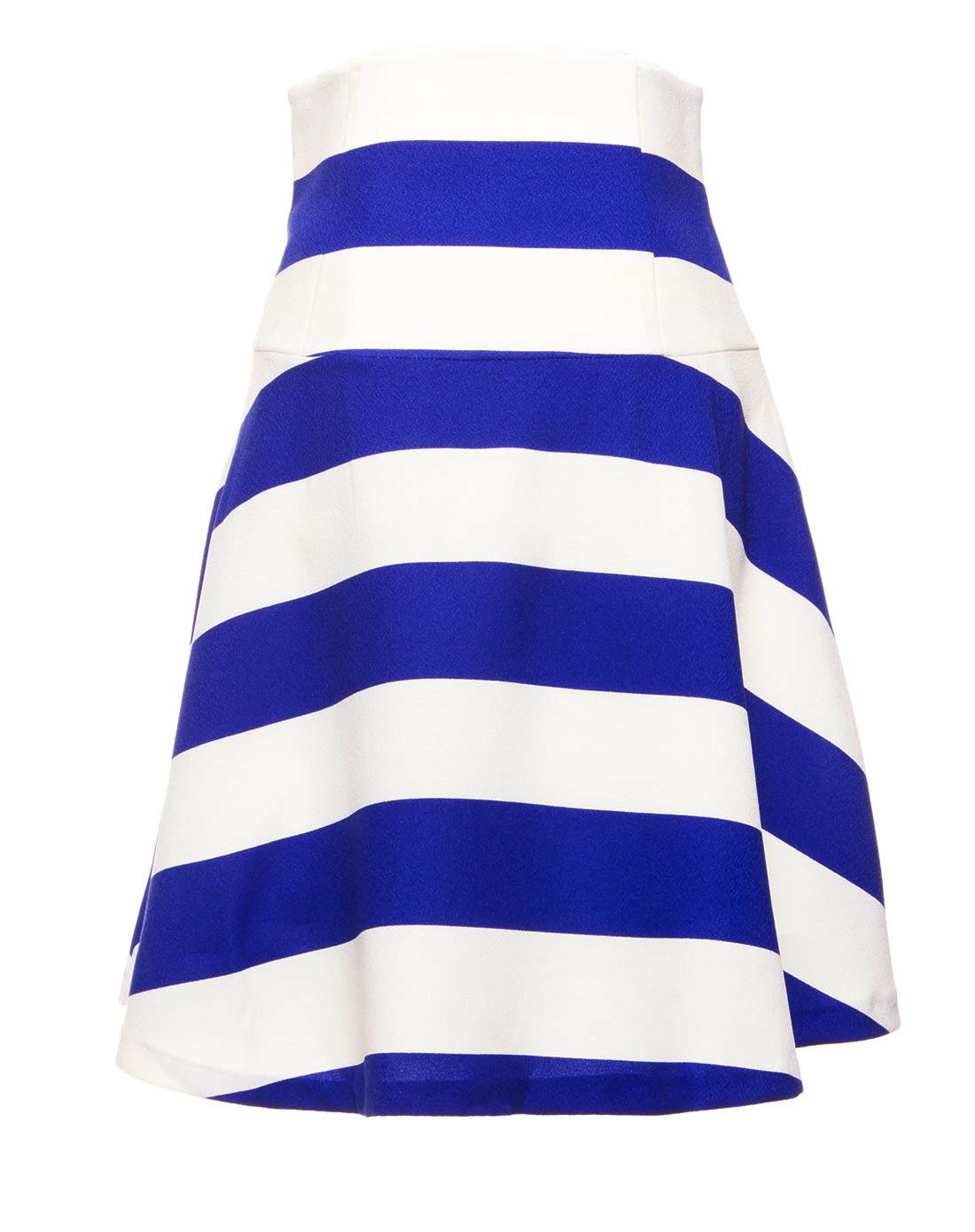 蓝白条纹伞裙
