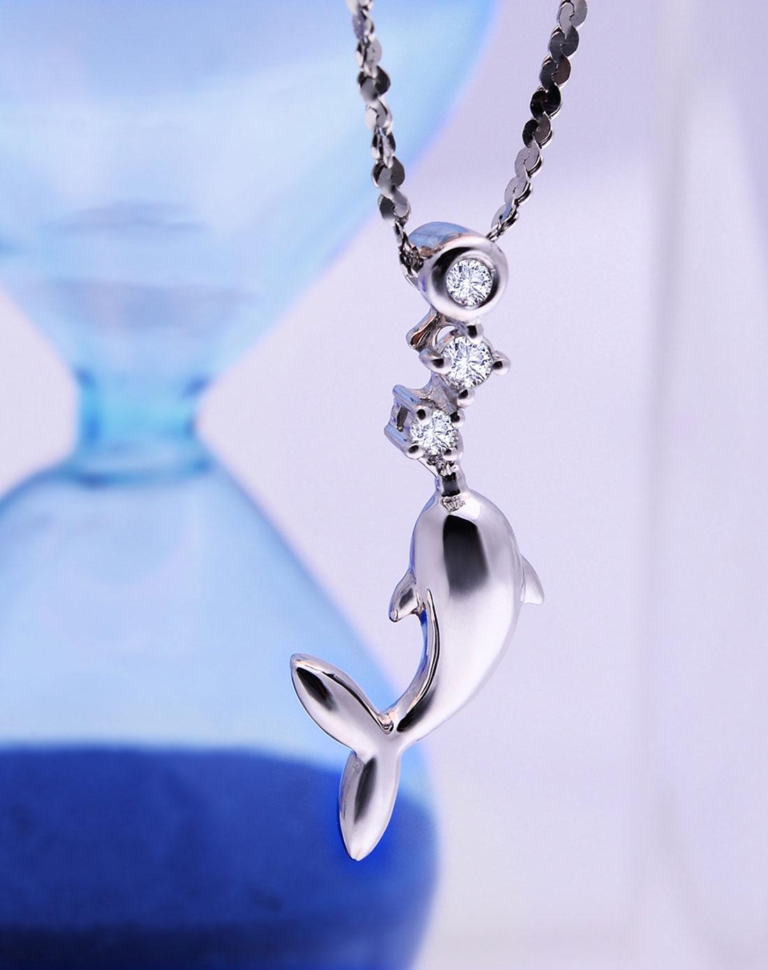 六喜珠宝luky专场-18k金海豚钻石吊坠