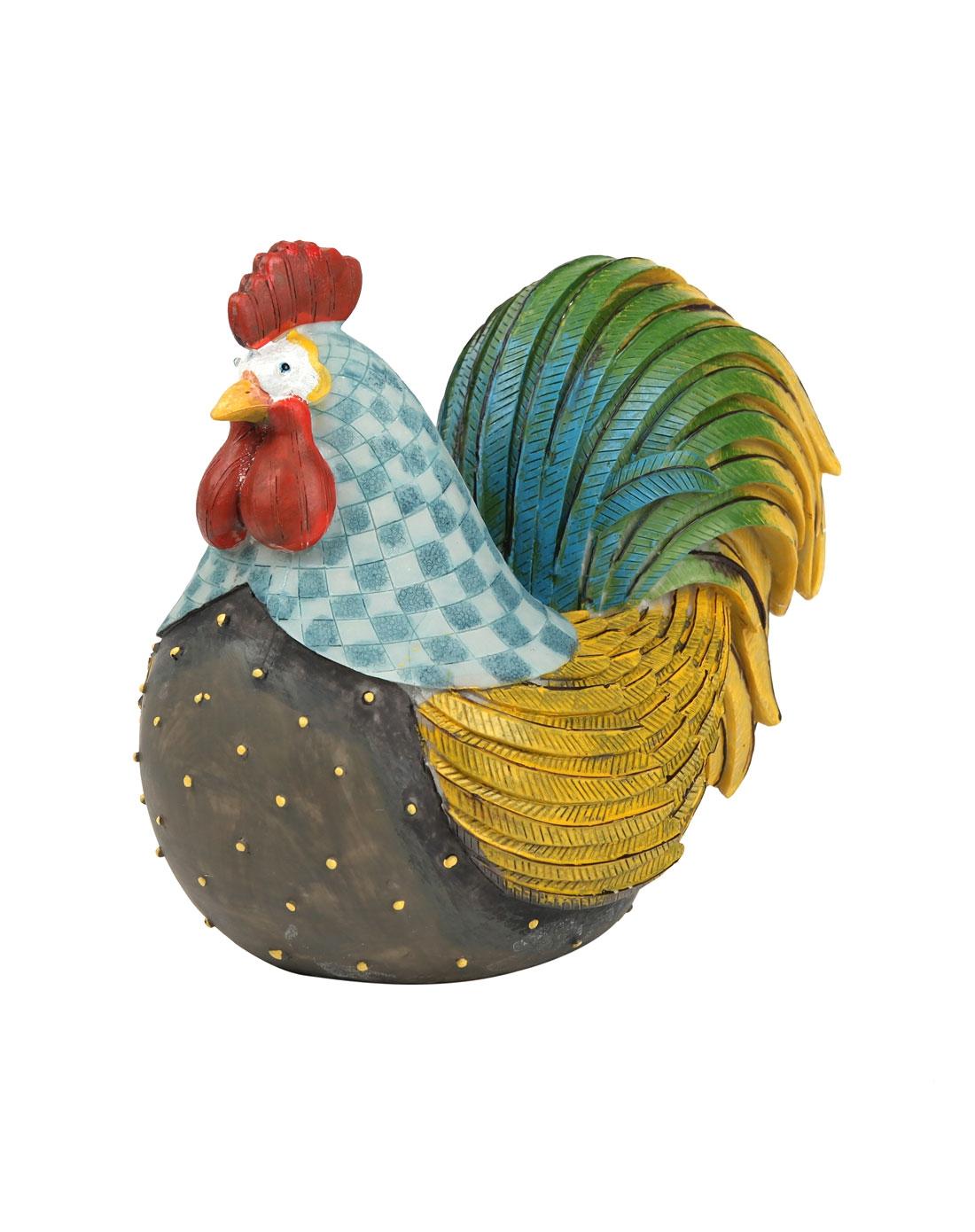 美式乡村田园大公鸡装饰摆件 绿身红羽