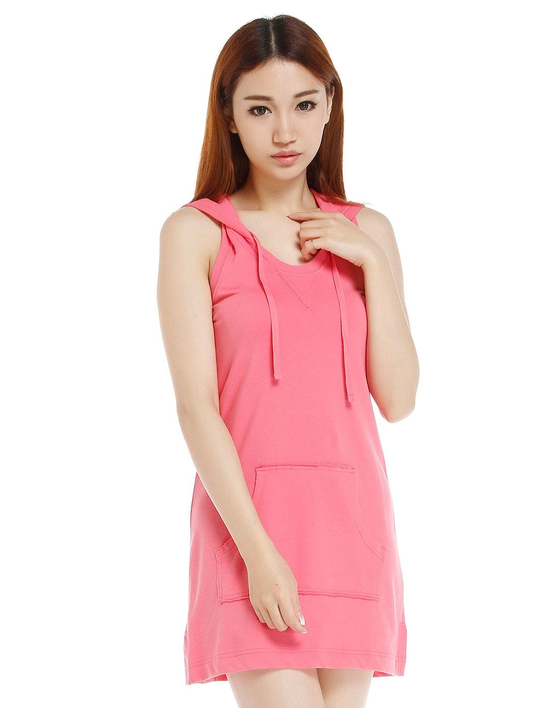 惠粉红_最后约惠-男女服饰专场女款粉红色连帽背心式连衣裙