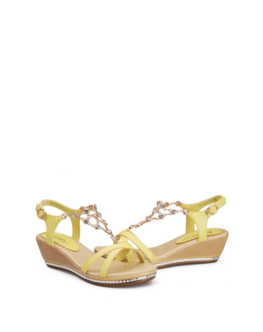 黄色2014夏季新款女鞋坡跟中跟波西米亚风水