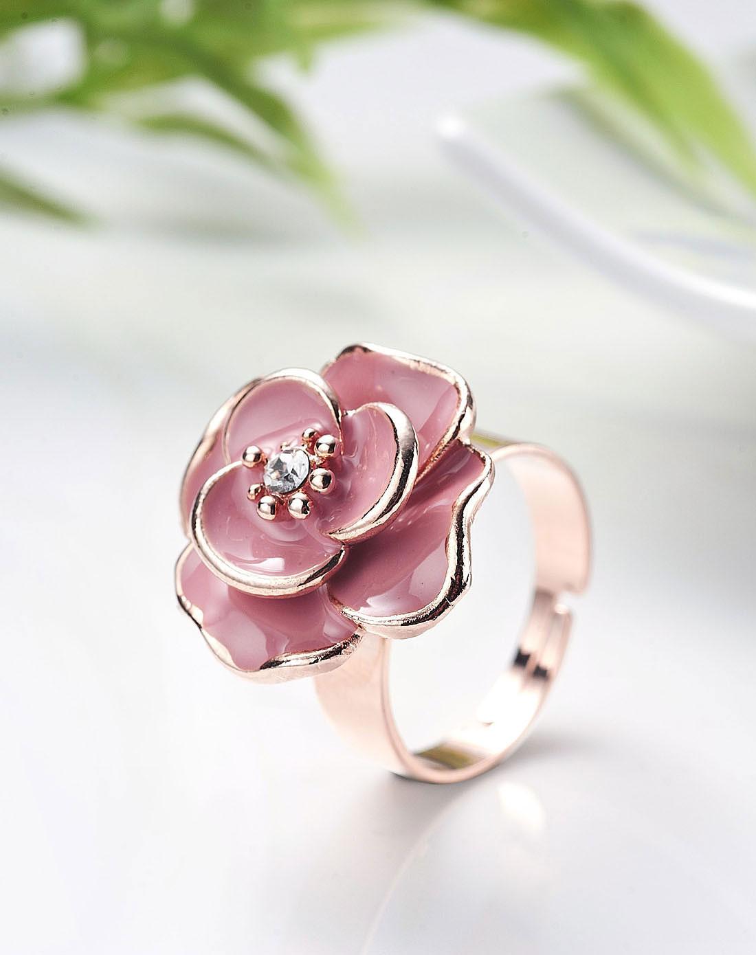 玫瑰金粉色浓情玫瑰戒指
