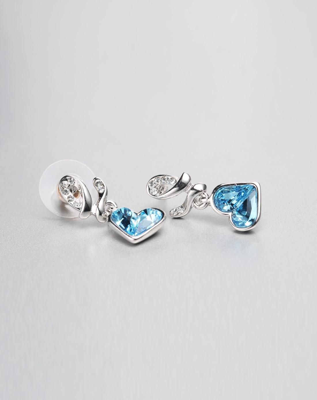 蓝色可爱时尚心形水晶耳钉
