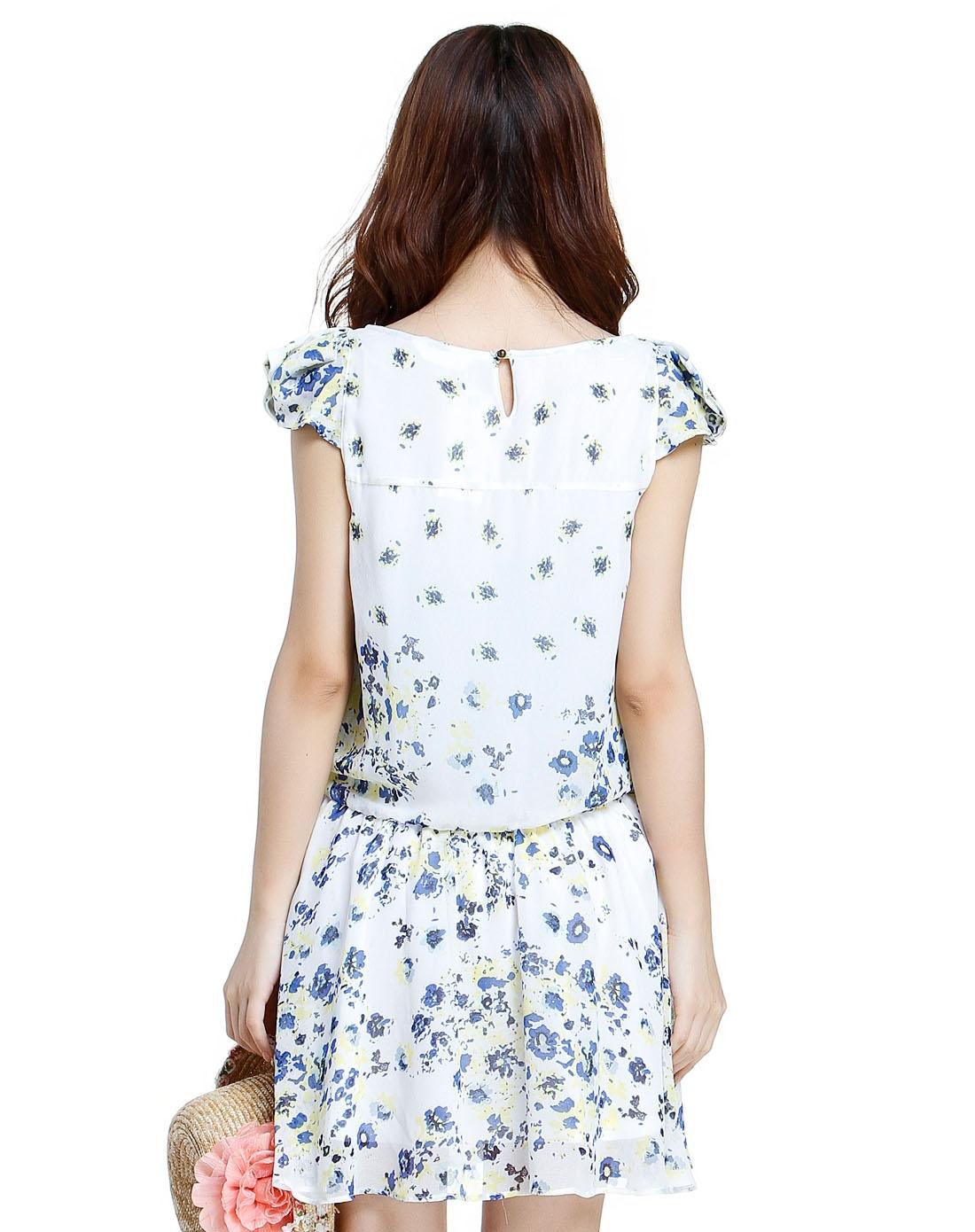 白底蓝黄色碎花短袖连衣裙